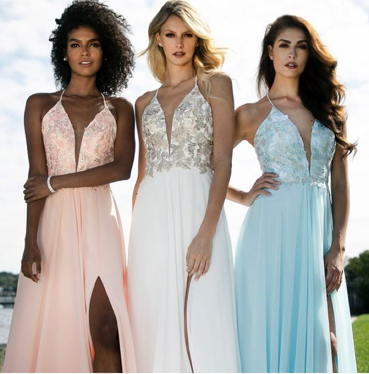 Models wearing Faviana prom dressses in various colors
