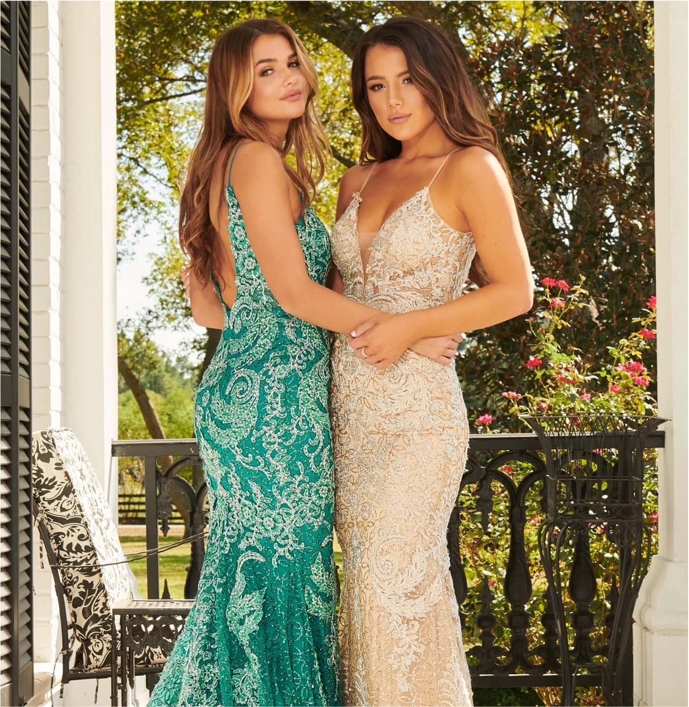 Two models wearing Rachel Allen prom dresses