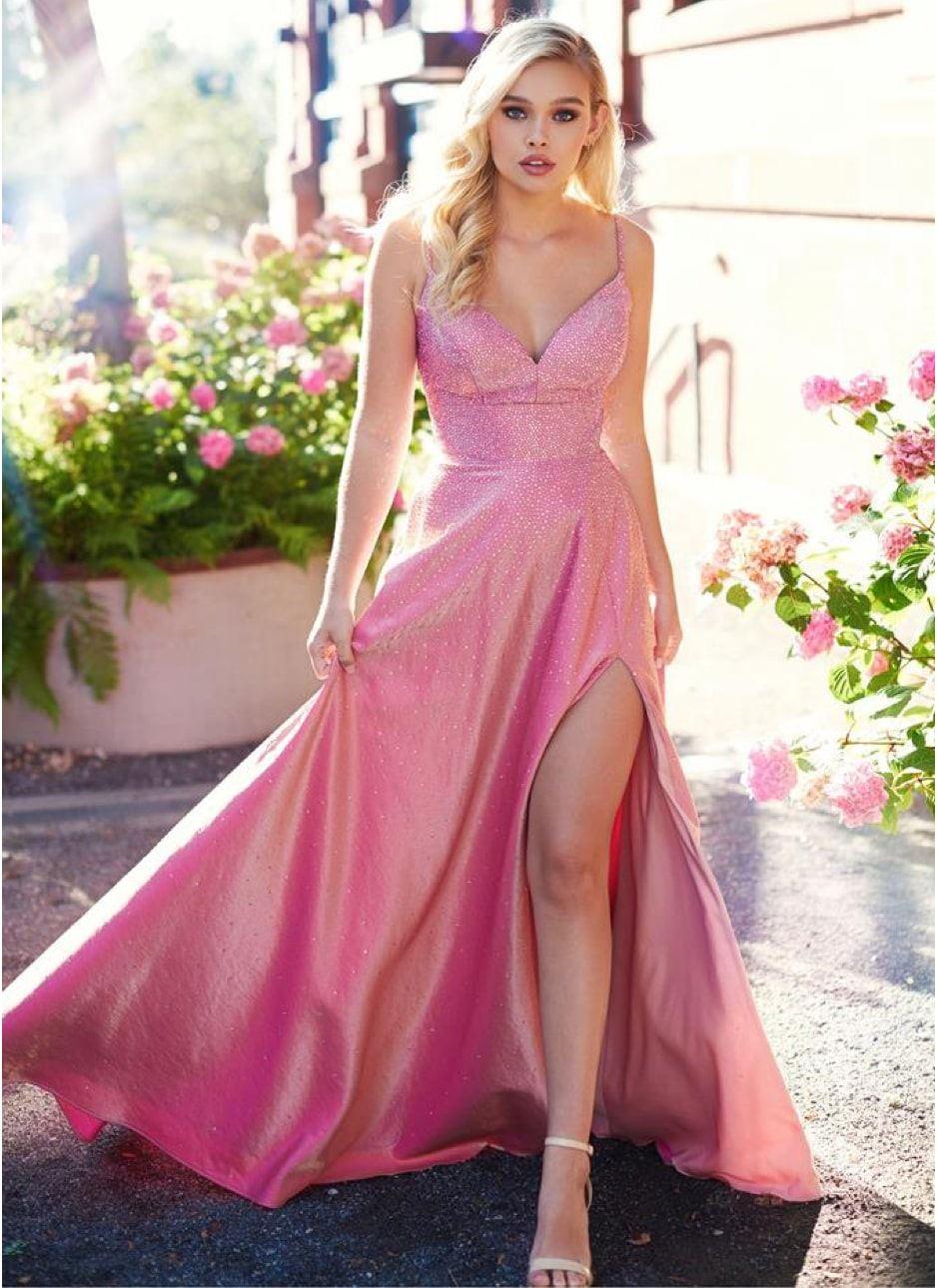 Ellie Wilde model in a prom dress